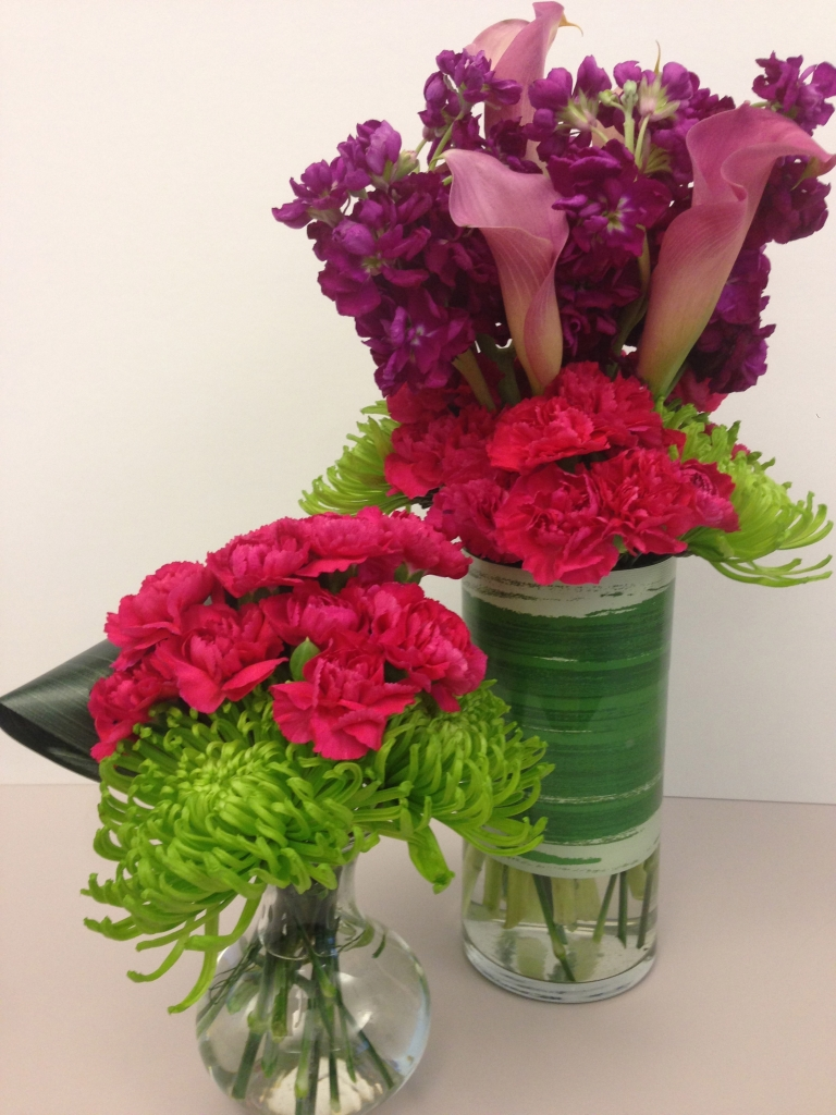 contemporary, modern, flowers, hot pink, purple