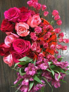 Various pink roses, purple astroemeria & bi-color pink spray roses