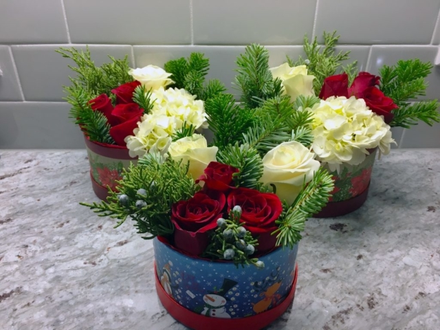 holiday, Christmas, modern, flower, flowers in a box