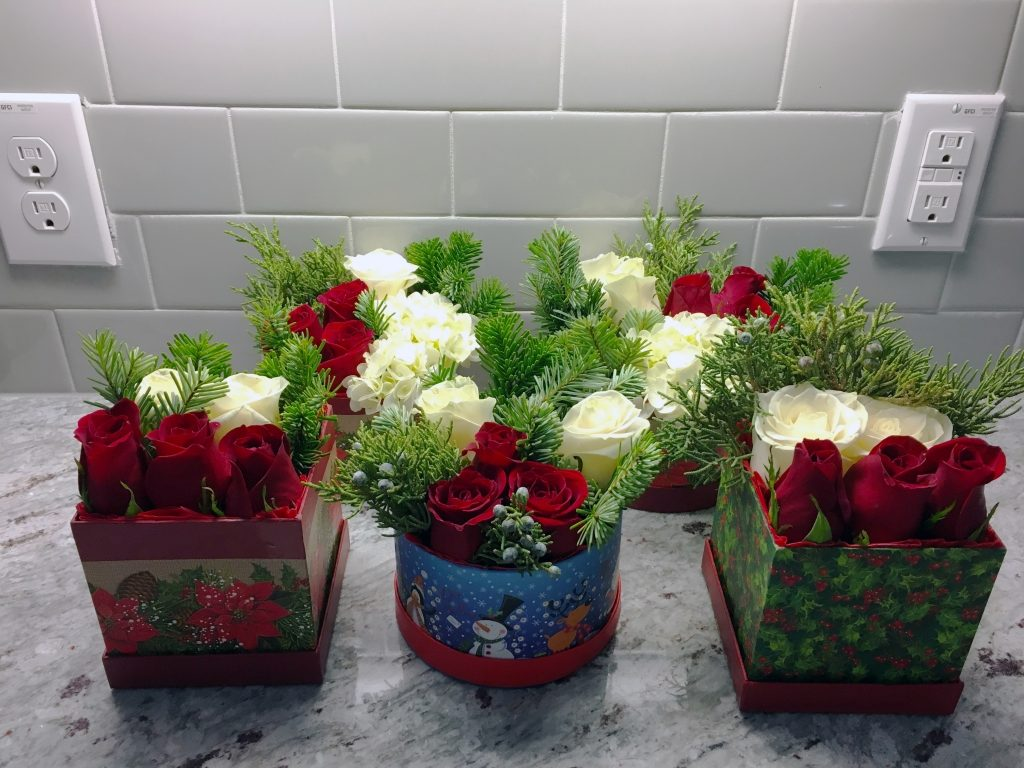 Holiday themed Florals in a box