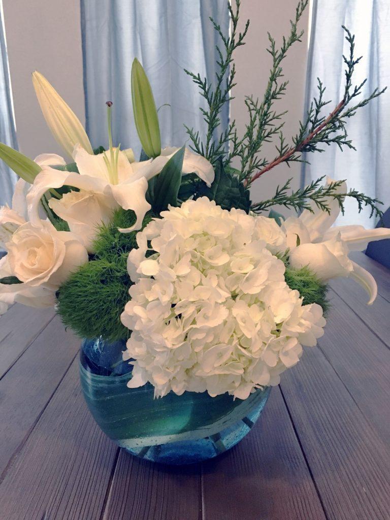 White flowers in Round Vase