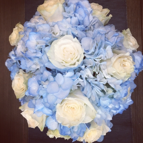 flower bouquet, hand-tied bouquet, modern, blue & white, baby boy gift