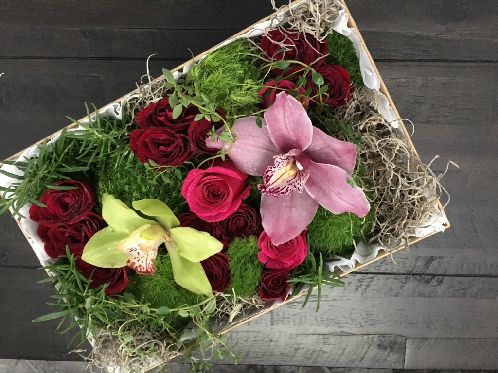 flowers in a box, roses, modern, herbs, bold colors, orchids