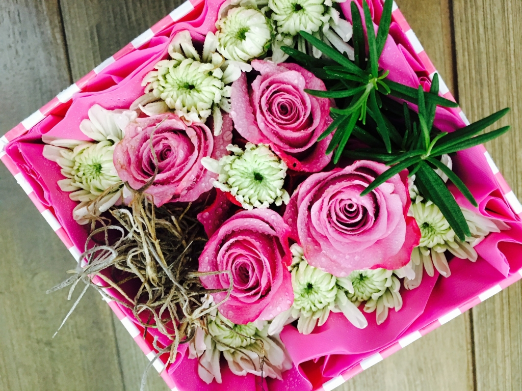 flowers in a box, roses, modern, herbs, mums, teacher appreciation