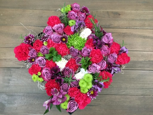 flowers in a box, roses, modern, herbs, bold colors