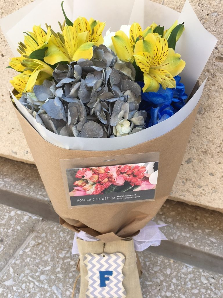 Baby Boy themed wrapped flower bouquet