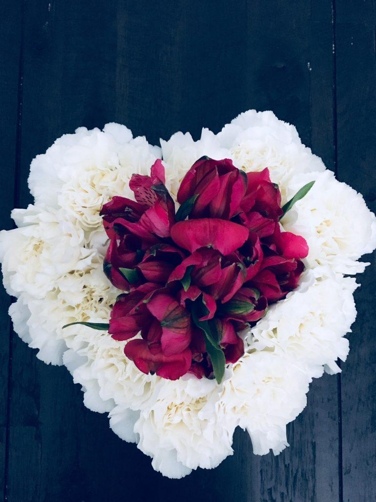 Love is in the Air Heart Flower arrangement