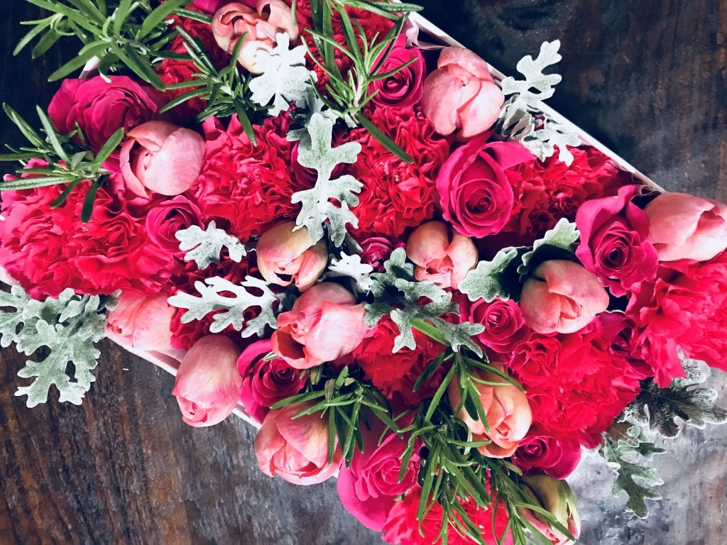 Hot Pink Flowers in a Box