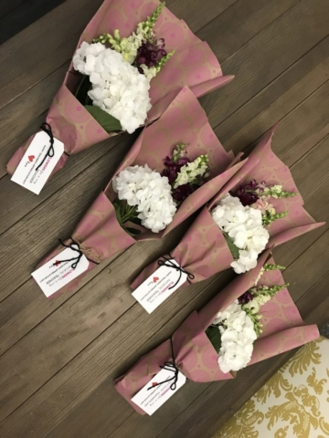 flower bouquet, hand-tied bouquet, modern, kraft paper, teachers