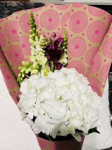 flower bouquet, hand-tied bouquet, modern, kraft paper, teacher appreciation