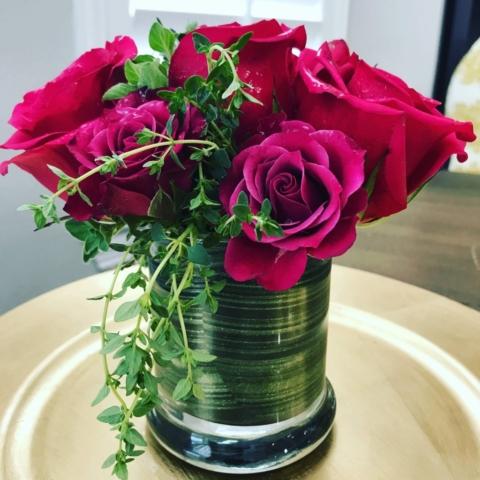 mini roses & thyme, flowers