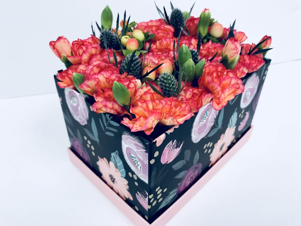 flowers in a box, bold, modern