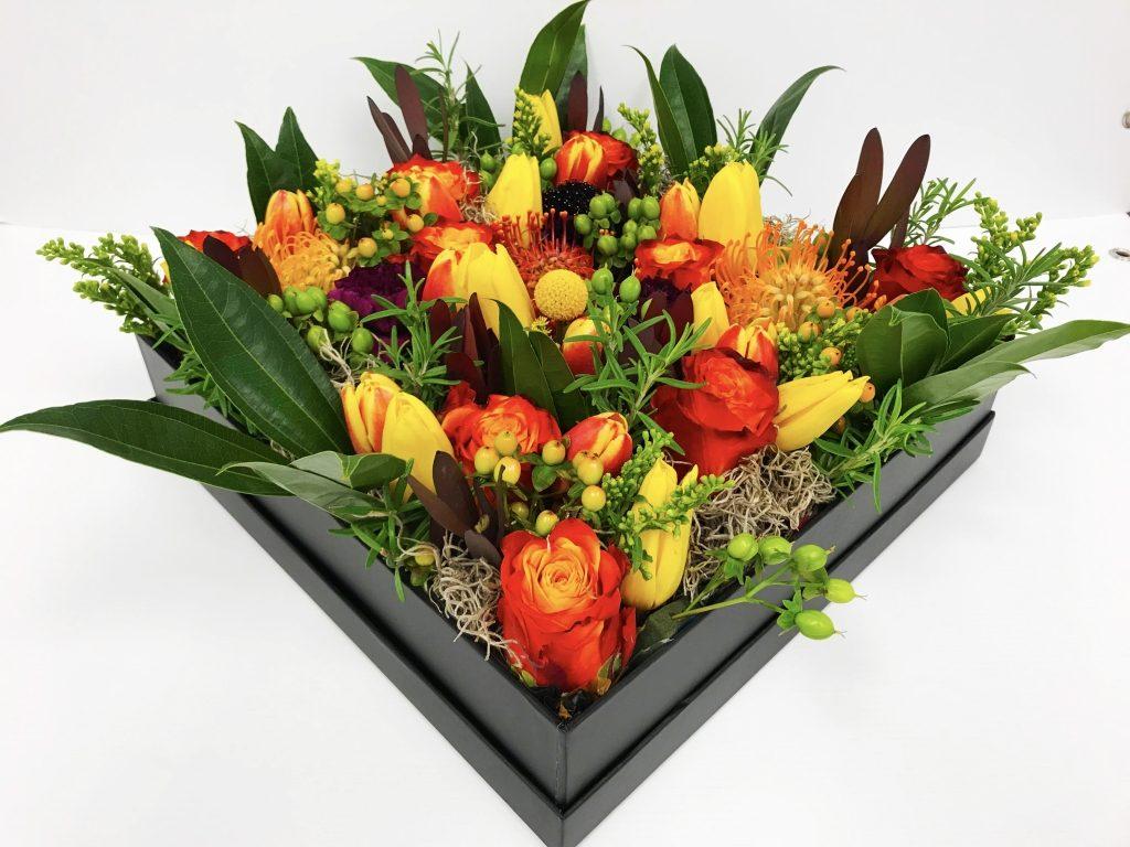 Elegant Autumn Flowers in a Box