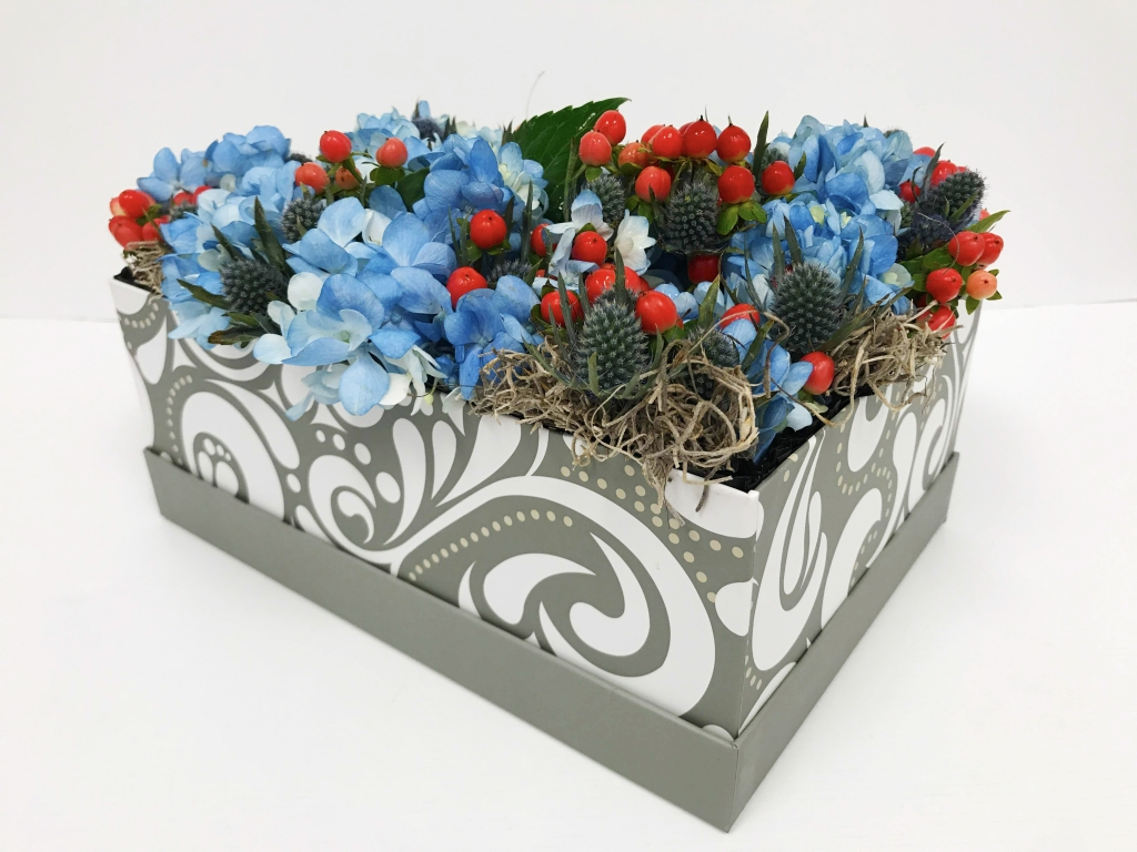 flowers in a box, holiday, modern
