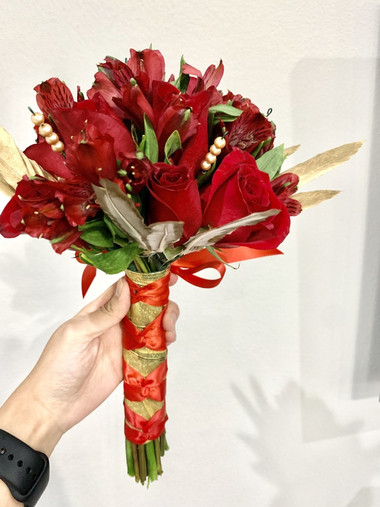Red & Gold elegance, bouquets, homecoming, prom, hand-tied