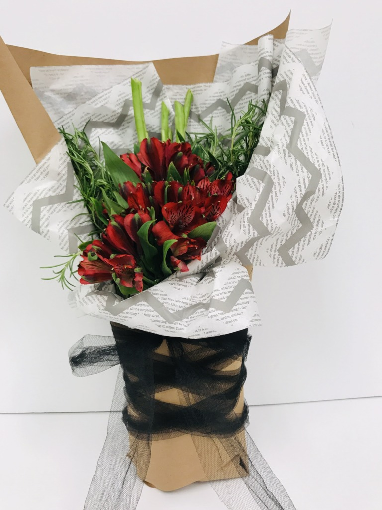 Alstroemerias, rosemary, wrapped bouquet, contemporary flower design