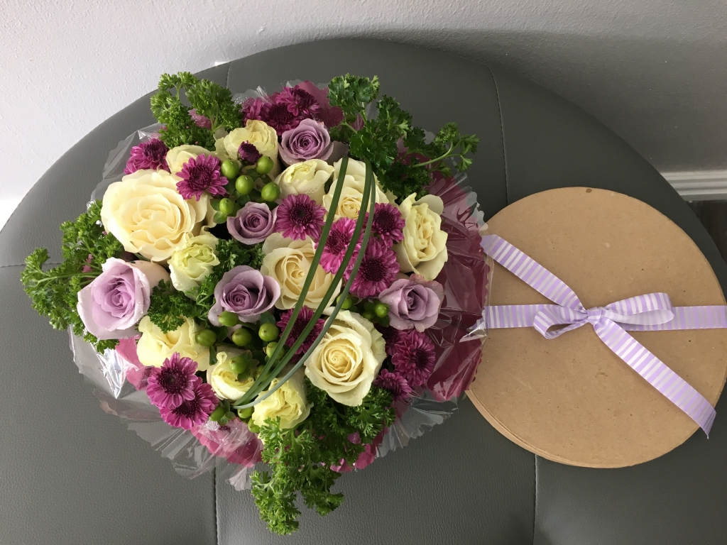 flowers in a box, roses, modern, contemporary, lavender flowers
