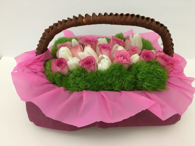 basket flower design, modern, contemporary, Easter