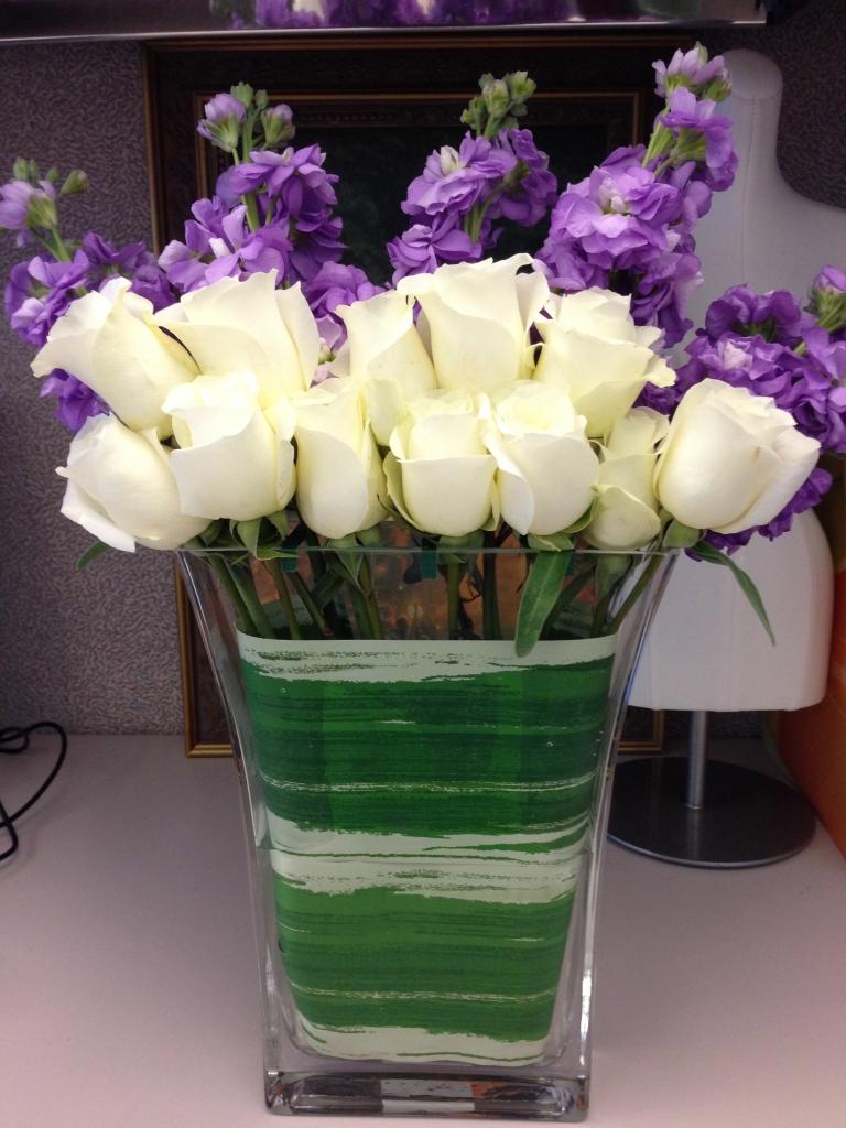 contemporary, modern, flowers, white, purple