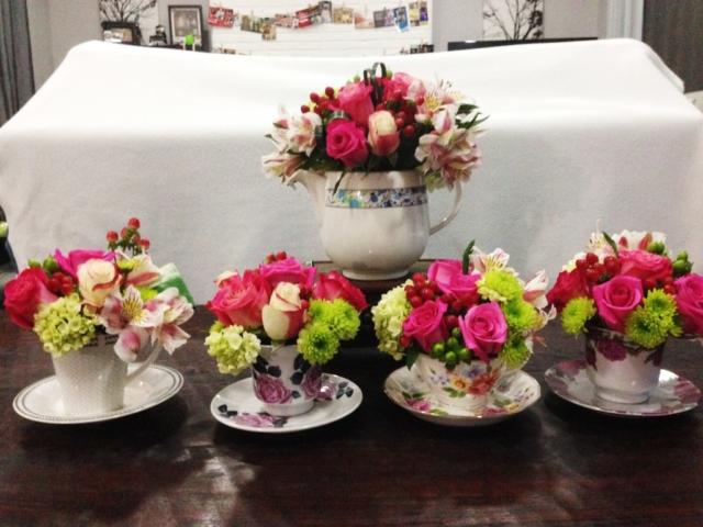tea party, flower arrangement, shabby chic, roses