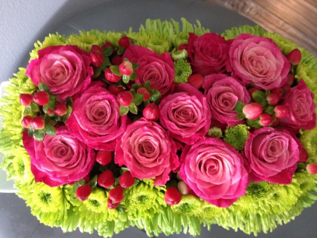 breast cancer awareness, hot pink flowers, modern, contemporary