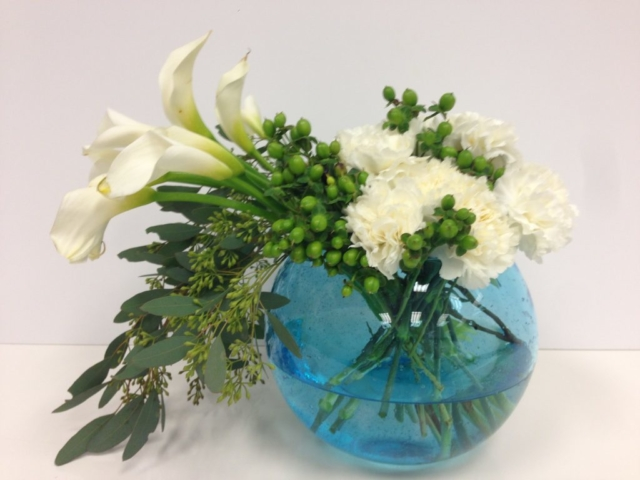 White modern flowers, sphere vase