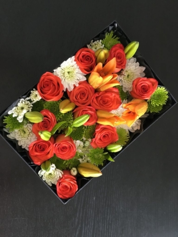 flowers in a box, roses, modern, contemporary, Fall, Spice