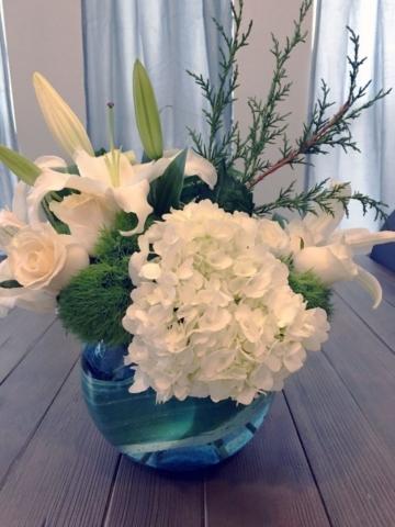 white, blue, flowers, baby boy