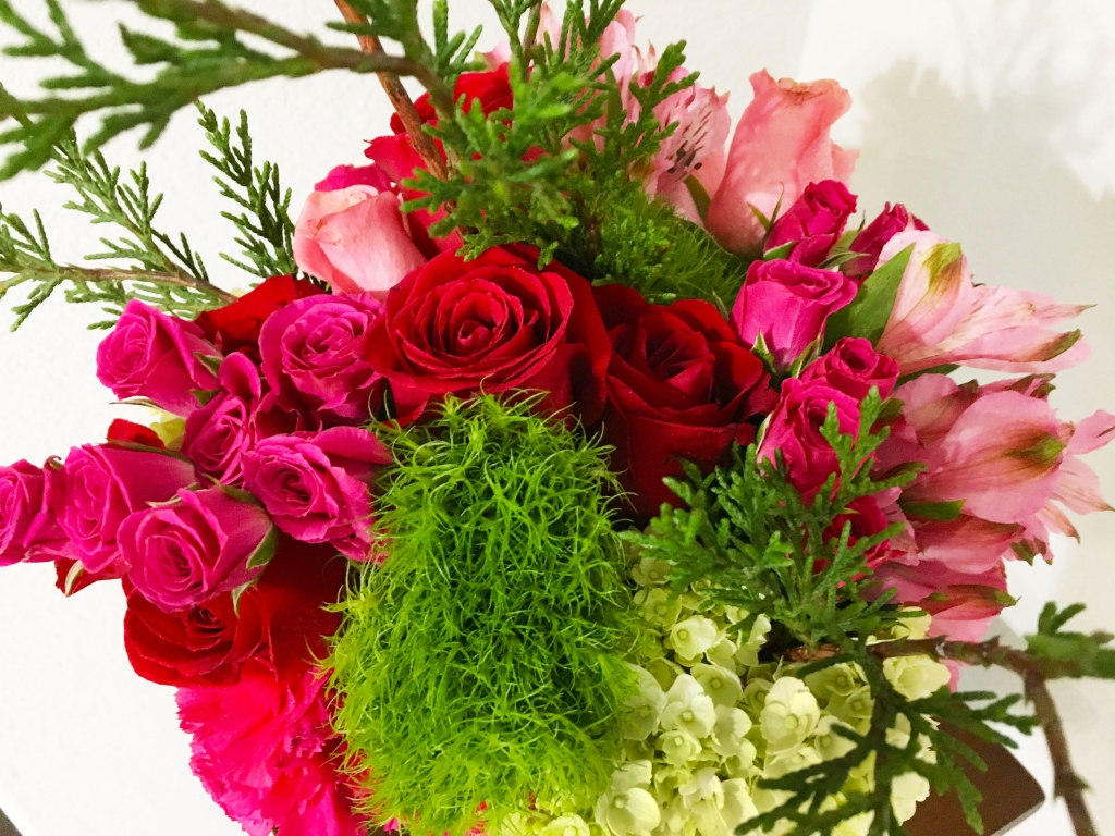 Pink/Red Winter Rustic Florals