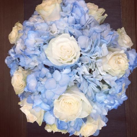 flower bouquet, hand-tied bouquet, modern, blue & white, baby boy gift
