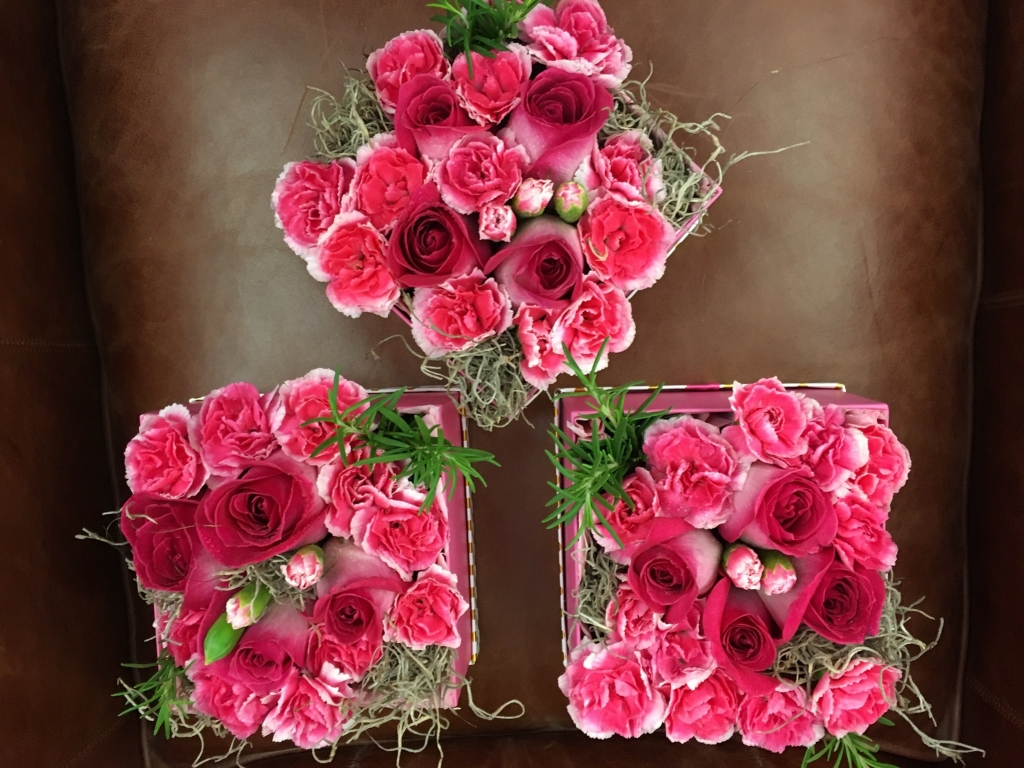 flowers in a box, roses, modern, herbs, bold colors, carnations