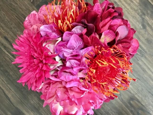 faux flowers, flowers, modern, bold colors