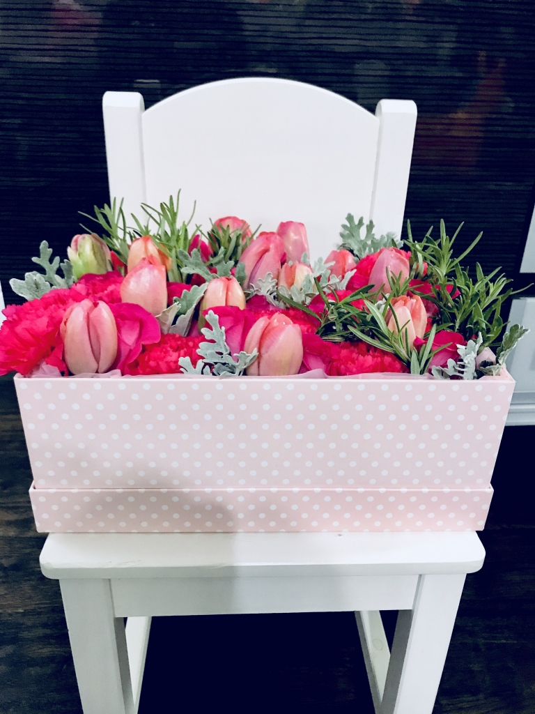 flowers in a box, roses, modern, herbs, baby gfits
