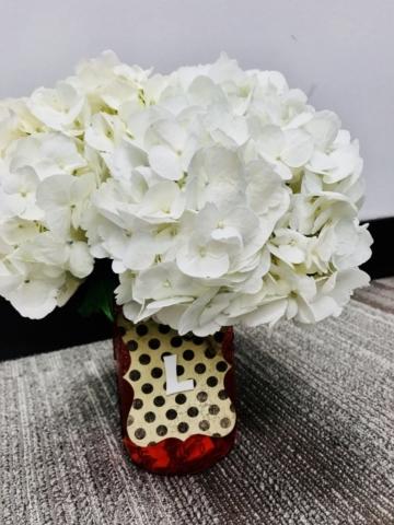 White hydrangeas in maison jar, rustic, simple flowers