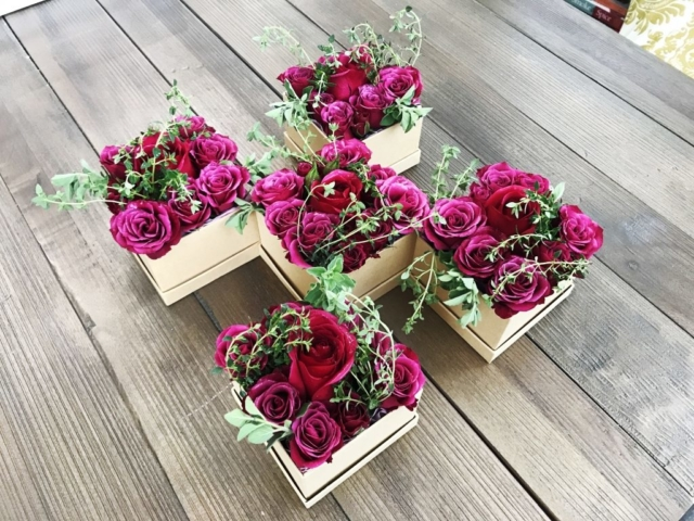 flowers in a box, roses, modern, herbs