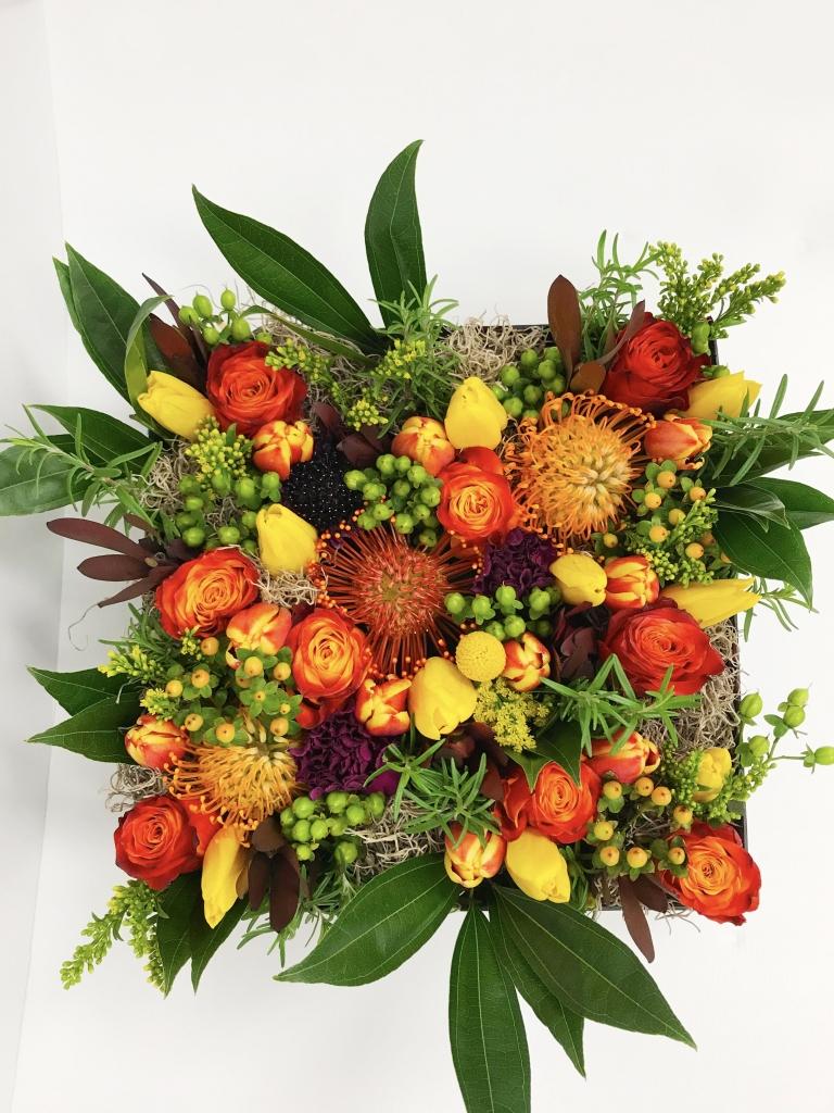 flowers in a box, Fall, modern