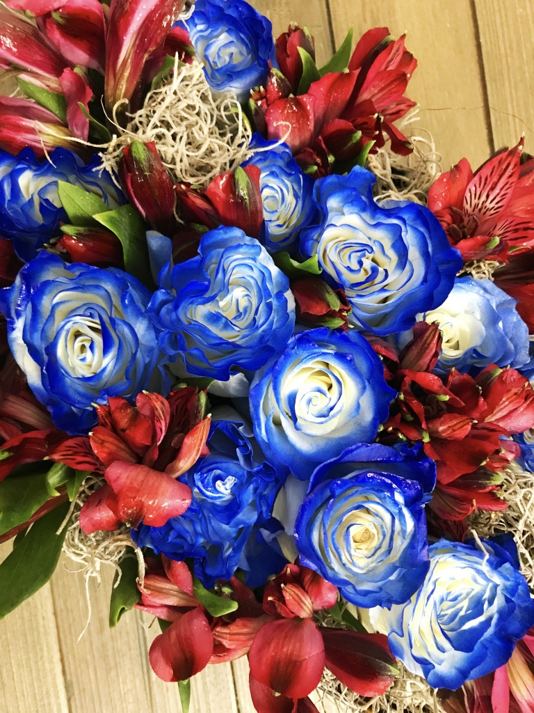 flowers in a box,  illusion roses, modern