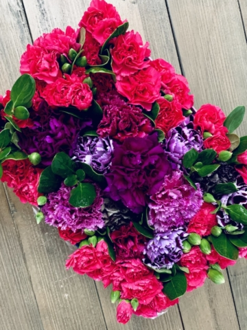 Carnations, flowers in a box